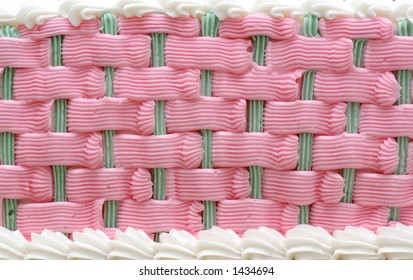 Pink and Green Wedding Cake Icing Close-up