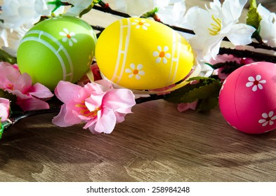 pink, green  and yellow easter egg decoration image