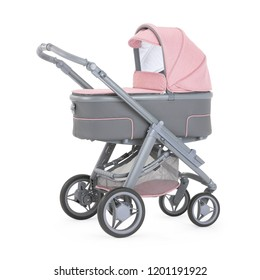 Pink and Grey Stroller Isolated on White. Side View Gray Baby Transport. Pushchair and Carrycot with Canopy and Swivel Wheels. Infant Carriage Seat. Travel System or Pram with Elevators and Raincover