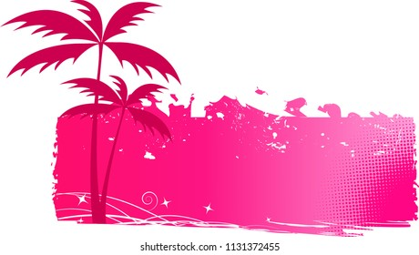 Pink grungy background with palm trees and halftone elements