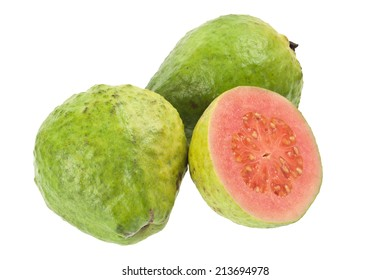 Pink guava fruit isolated on white background