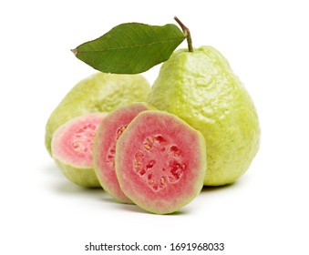 Pink guava isolated on white background