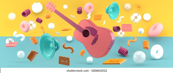 Pink guitar and blue speakers amid balls and tape on a green and yellow background 3D Render.