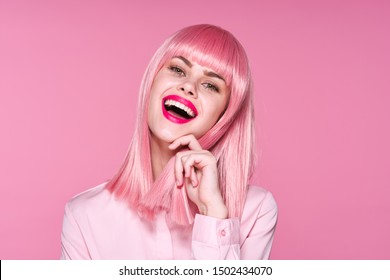 Pink hair bright makeup smile woman laugh fun