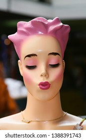 Pink Hair Mannequin Pouting Lips