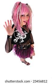pink hair punk girl waves