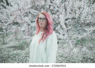 Pink haired woman spring time