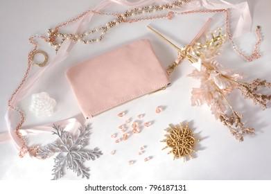 Pink Handbag and Jewelry Winter Arrangement