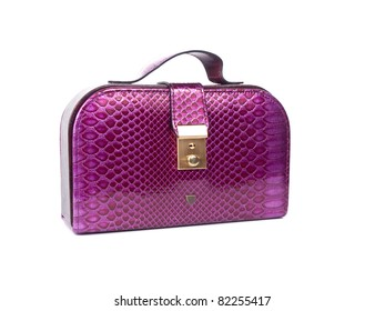 Pink handbag on a white background