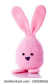 pink handmadewool easter bunny stuffed animal
