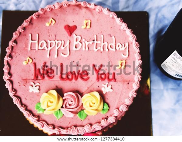 Amazing Pink Happy Birthday Cake We Love Stock Photo Edit Now 1277384410 Funny Birthday Cards Online Fluifree Goldxyz