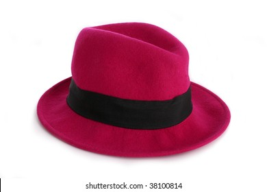 A pink hat isolated on a white background