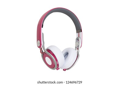 Pink headphones isolated on a white background