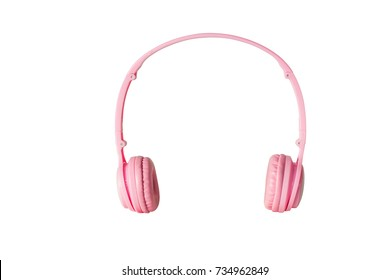 pink headphones on white background with clipping path.