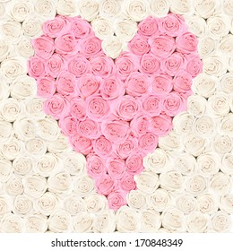 Pink heart consisting of roses with flower background - valentine card