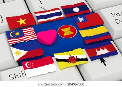 Pink Heart Flag of AEC (ASEAN ECONOMICS COMMUNITY) On Laptop Keyboard