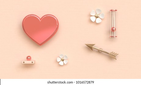 pink heart gold arrow abstract love valentine concept 3d rendeing