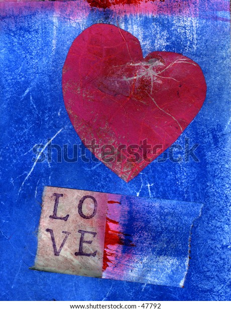 Pink heart with LOVE letters.Mix media collage