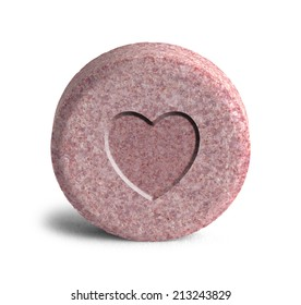 Pink Heart Love Potion Medicine Isolated on a White Background.