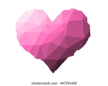 pink heart on triangles low poly