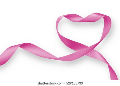 Pink heart ribbon isolated on white background (clipping path), for nation woman's health month and Breast cancer awareness