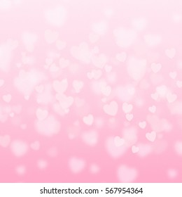 pink Heart shapes on abstract light glitter background in love concept for valentines day with sweet and romantic moment and bokeh illustration