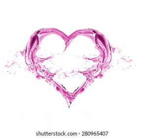 Pink Heart from water splash with bubbles isolated on white. Watercolor pink heart for Valentine's day and Wedding
