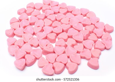 pink hearts candy isolated on white background