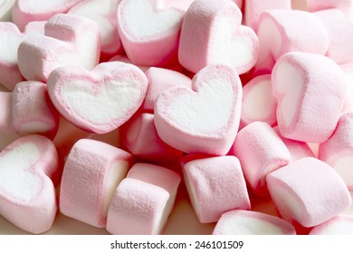 Pink hearts marshmallow for valentine's day