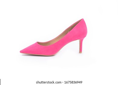 Pink high hell shoe studio shot on white background