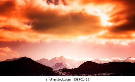 pink highlands sunset