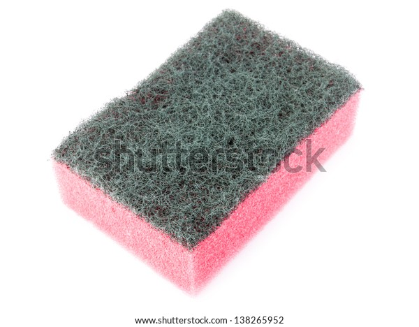 Pink household sponge on a white background.
