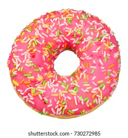 Pink icing donut isolated on white background with clipping path