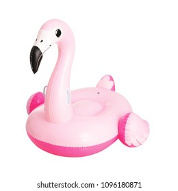 Pink Inflatable Flamingo Swim Ring Isolated on White Background. Water Donut. Toroid-Shaped Swimming Tube. Baby Inflatable Pool Ring