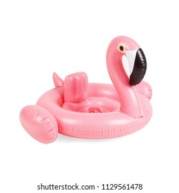 Pink Inflatable Flamingo Swimming Pool Float Isolated on White Background. Side View of Baby Swim Ring. Kiddy Rose Water Donut