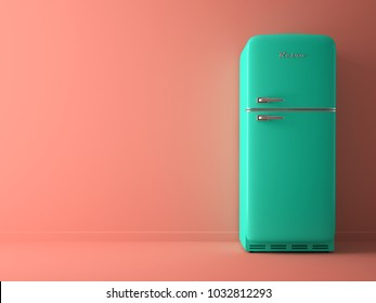 Pink Interior with blue fridge 3 D illustration