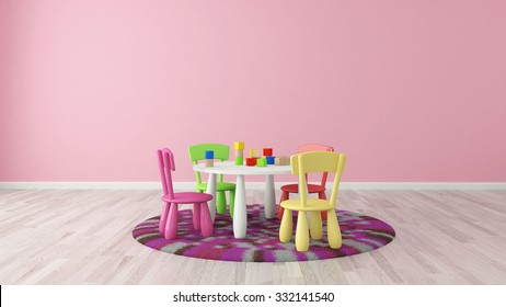 Pink Kids Room With Furniture For Kids 3d Rendering