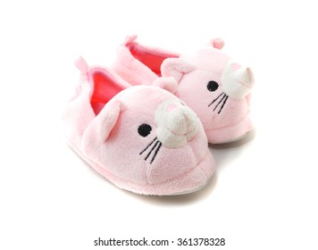 Pink Kids Slippers with mouse design isolated on white