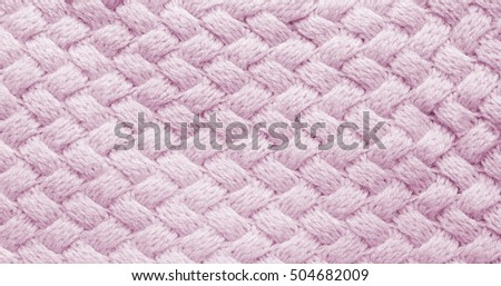 75dcdb66289 Pink knitted carpet closeup. Natural woolen fabric, sweater fragment.  Textile texture trendy rose quartz background. Detailed warm yarn background.  Knit ...