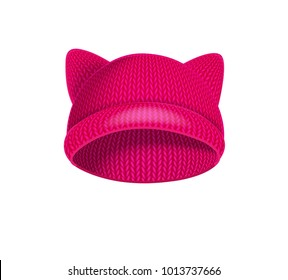 Pink knitted hat with cat ears. Raster copy.