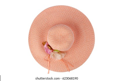 Pink Ladies Hat With Flower Top View Isolated on White