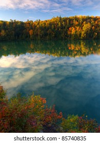 Pink lake in Gatineau Park, Quebec, Canada