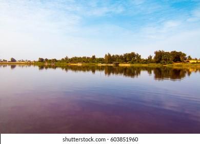 The pink Lake Retba or Lac Rose outside Dakar, Senegal