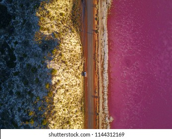 Pink Lake Western Australia Drone photography. Port Gregory WA. Short walk from the caravan park and a great spot to watch the sunrise! Lake doesn't appear pink in the sunrise photos