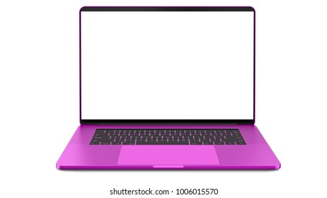 Pink laptop with blank screen isolated on white background. Whole in focus. High detailed. 3d illustration.