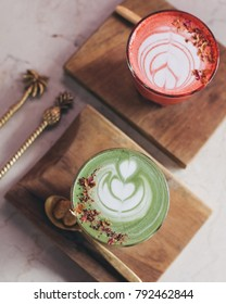 Pink latte and matcha latte coffee served for breakfast