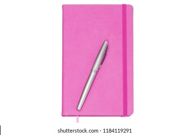 Pink leather daily planner with elastic banded and pen isolated on the white background.