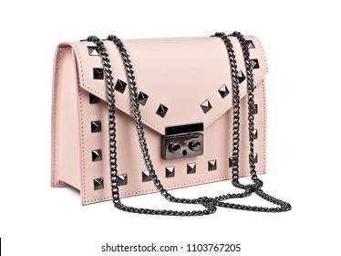 Pink leather handbag isolated on white background stock photo