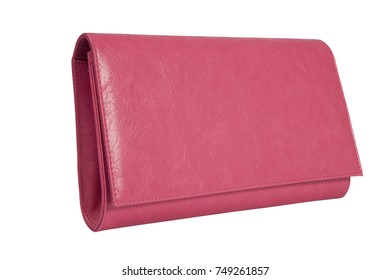 pink leather purse, wallet for women, isolated