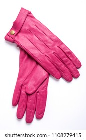 pink leather woman gloves isolated